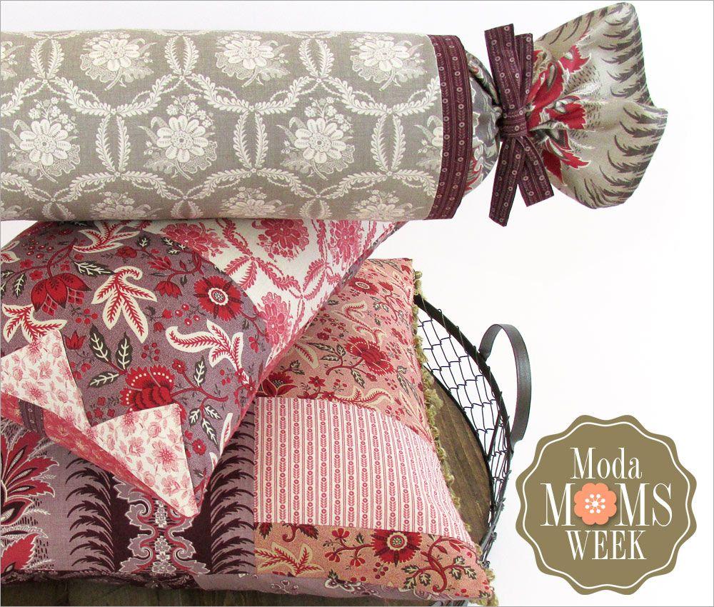 Elegant Patchwork Pillow Trio featuring Ville Fleurie: It's Moda Moms Week | Sew4Home