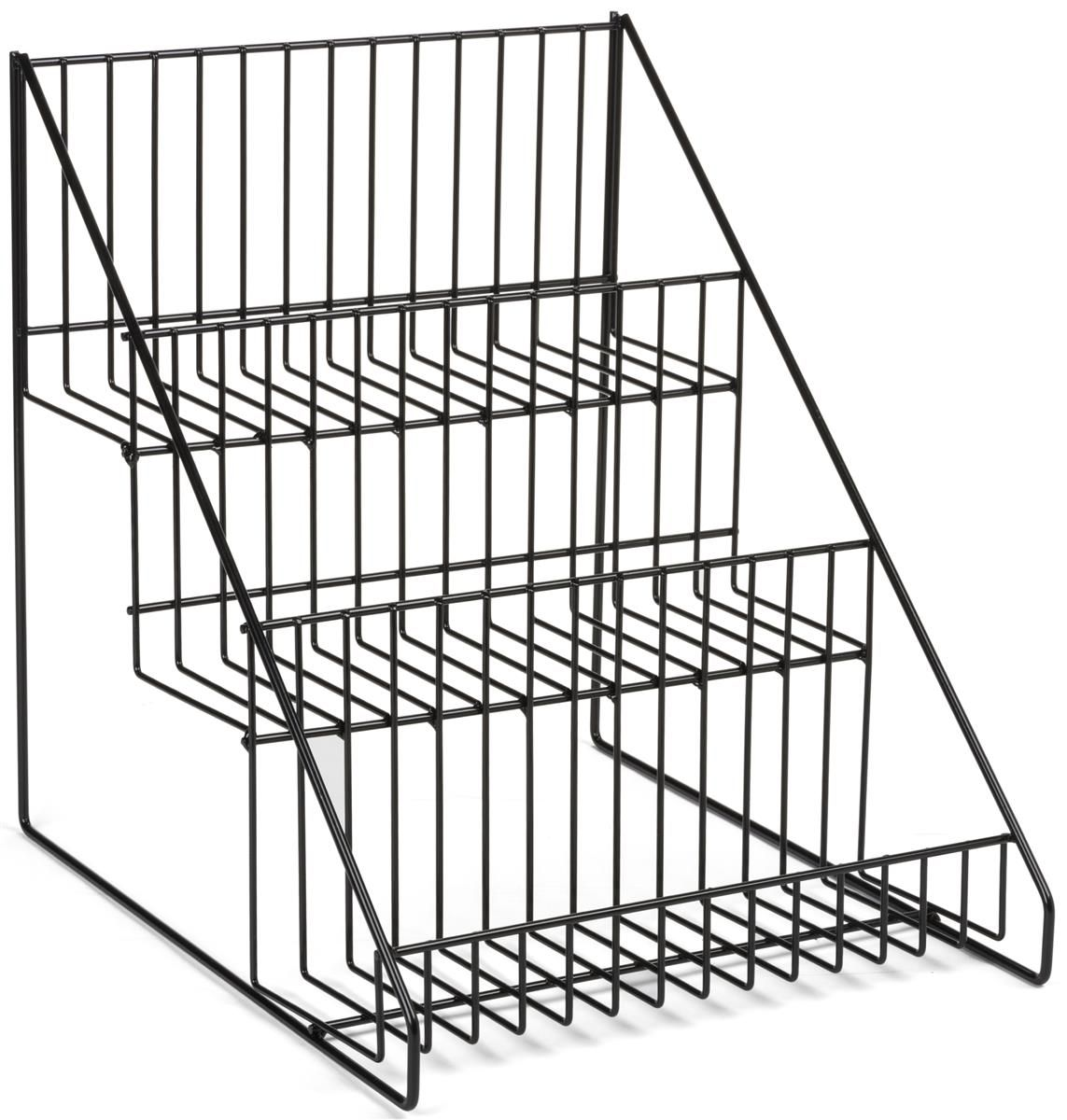 3 Tiered Wire Rack Display Tabletop 12 W Open Shelves Black