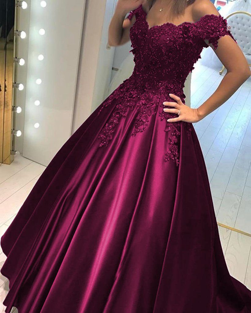 Lace flower off the shoulder satin prom dresses ball gowns ball