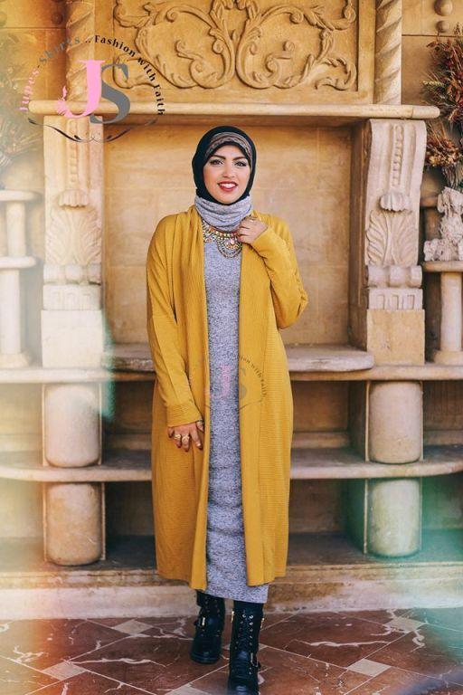 Mustard hijab tunic Winter hijab fashion from Egypt http//www.justtrendygirls.com/winter-hijab ...