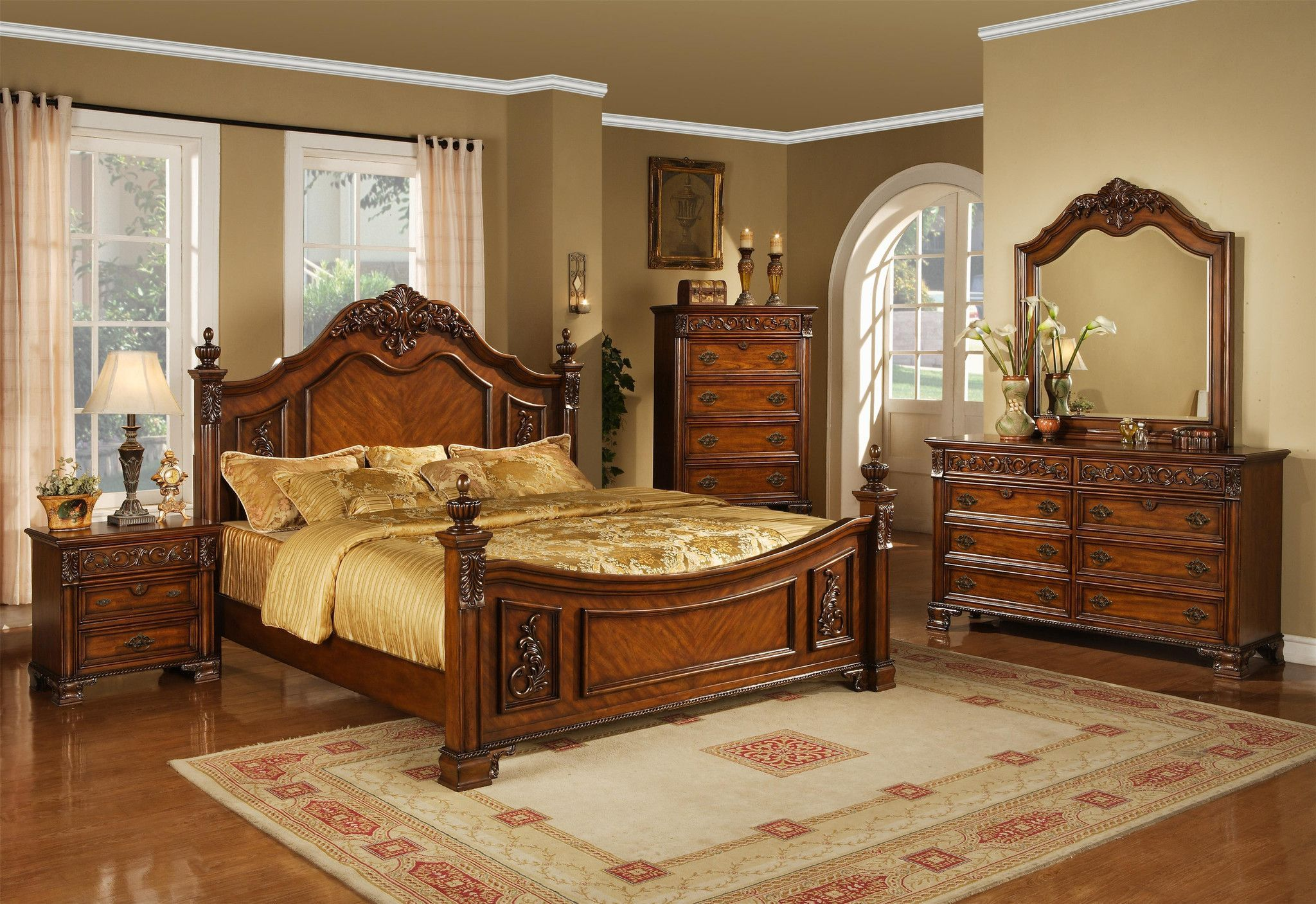 Mansion Cherry Queen Bedroom Set By Lifestyle Furniture My - Cheap 5 piece bedroom furniture sets