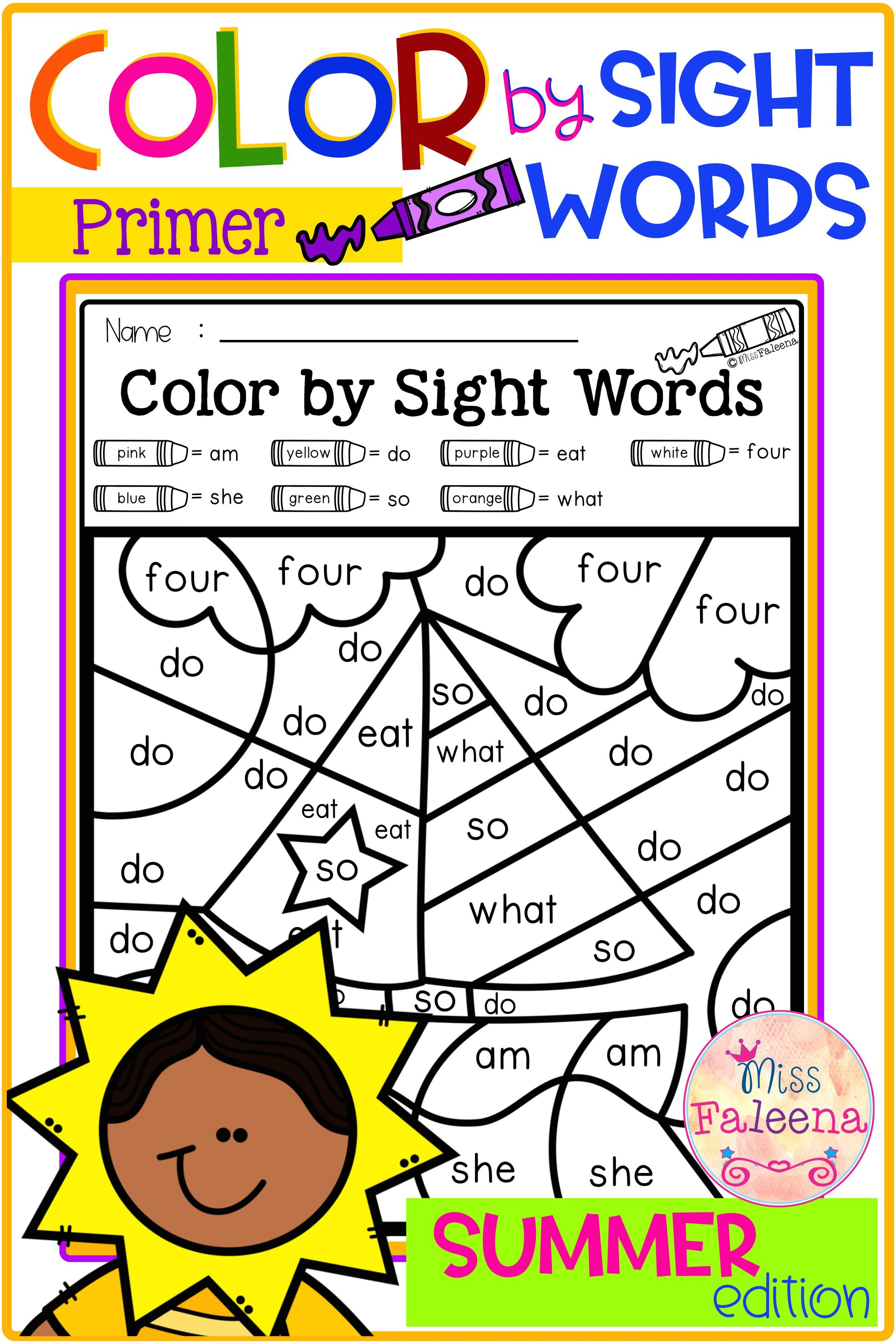 Summer Color By Code Sight Words Primer Di