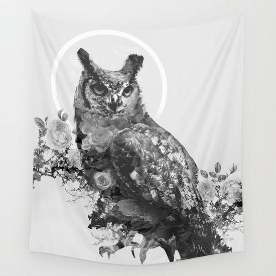 Moon Vertigo Wall Tapestry. #animals #black-white #nature #digital