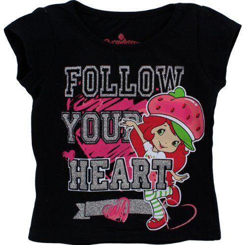 "Strawberry Shortcake ""Follow Your Heart"" Black T-Shirt 2T-4T (3T) Strawberry Shortcake http://www.amazon.com/dp/B00AYEYMKG/ref=cm_sw_r_pi_dp_n.Y.tb1NPQ7YS"