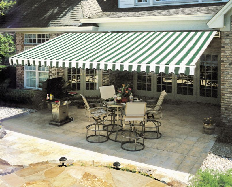 Exterior Small Retractable Awning With Automatic Also For Deck And
