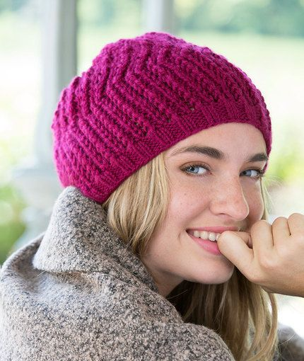 Any Day Beret Free Knitting Pattern in Red Heart Yarns | New, New ...