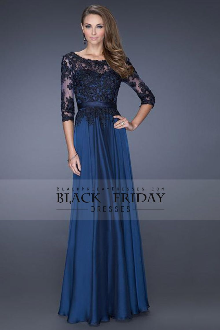 length sleeves scoop a line prom dresses chiffon with black