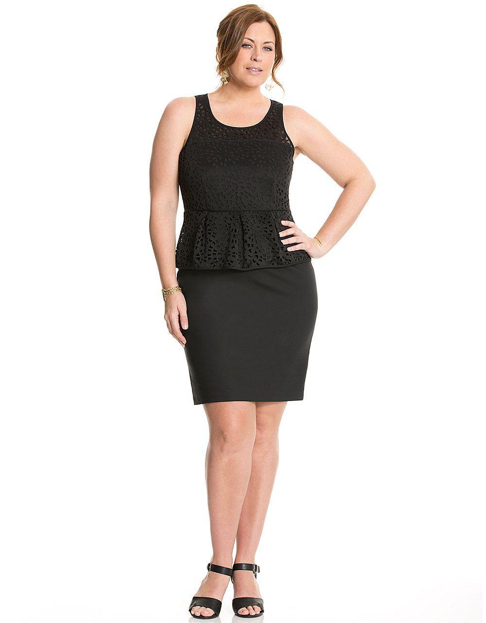 Trixxi plus size short-sleeve lace-trim midi dress
