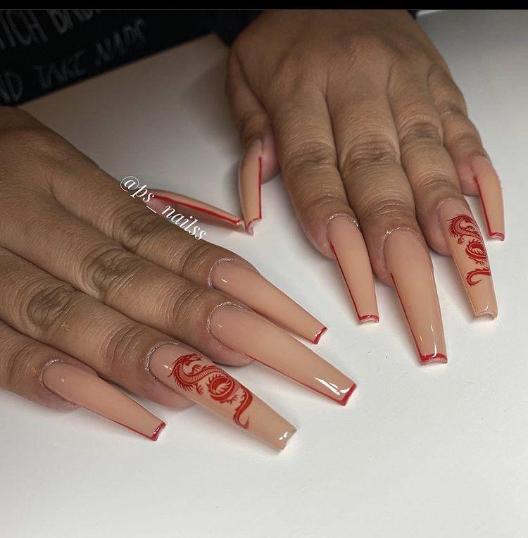 Dragon Nails In 2020 Dragon Nails Long Acrylic Nails Coffin Drip Nails