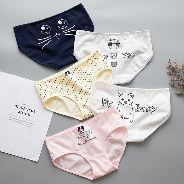 Wholesale Women Cotton Knickers Panties Cute Briefs Underwear Cartoon Lingerie
