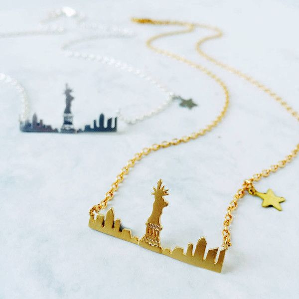 Eclectic Eccentricity New York Skyline Necklace ($25) ❤ liked on Polyvore featuring jewelry, necklaces, eclectic eccentricity and travel necklace