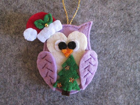 Felt Christmas ornament; Felt Owl ornament; Christmas Owl ornament