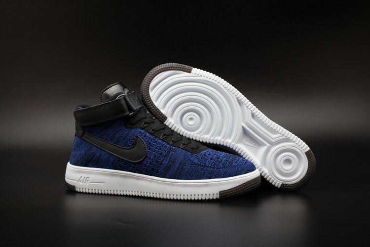 hot sales 49965 d5f17 Big Boys Nike Air Force 1 Youth Mid Flyknit Royal White Black Navy
