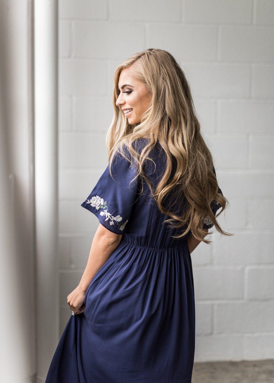 3e1ddf4ff15 Navy Rosebuds   Romance Maxi Dress-JessaKae