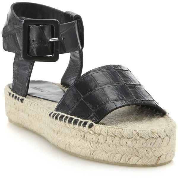 727d299fdca Vince Edina Croc-Embossed Leather Espadrille Sandals ( 115) ❤ liked on  Polyvore featuring