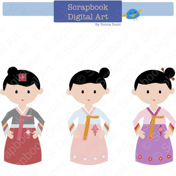Korean Girl Hanbok, Hanbok Clip Art, Hanbok Girl, Korean ...