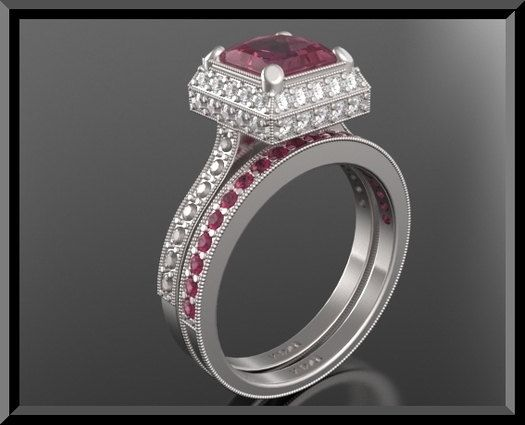 Engagement Ring And Wedding Band Ruby Rings Sets Beautiful