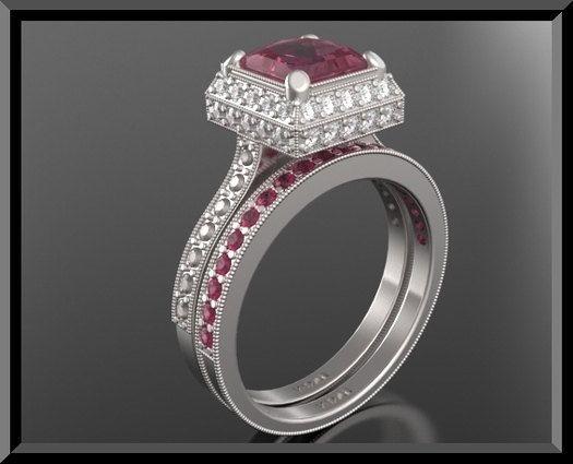 Vintage Ruby Wedding Ring Set Diamond Wedding Ring Set Unique
