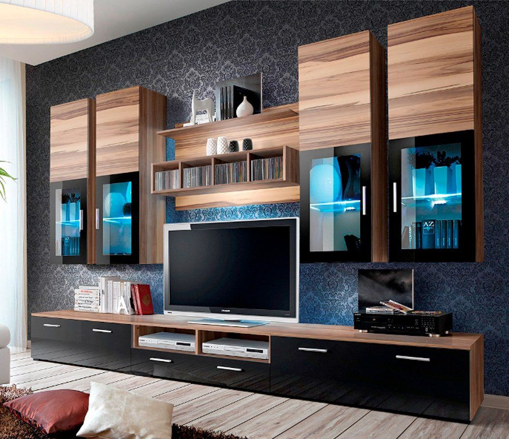 Concept Muebles Presto Modern Wall Unit Entertainment Centre Spacious And Elegant Furnitur Living Room Wall Units Entertainment Wall Units Modern Tv Wall Units
