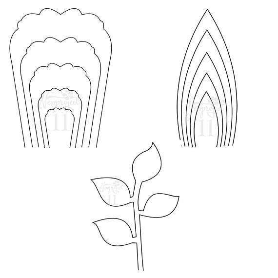 PDF Set of 2 Flower Templates and 1 Leaf Template Giant Paper