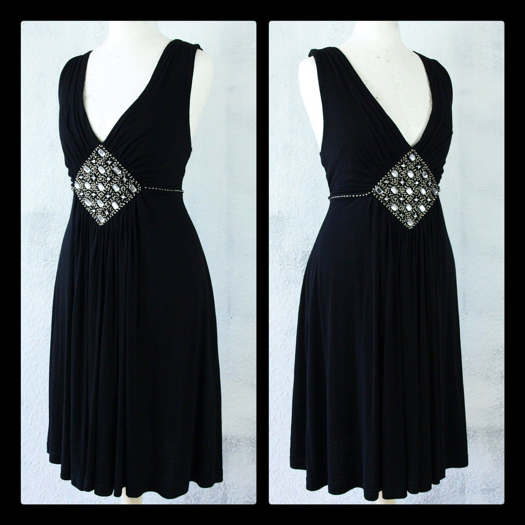 S M Dress Rhinestone Gatsby Empire Vintage Upcycling Second Hand
