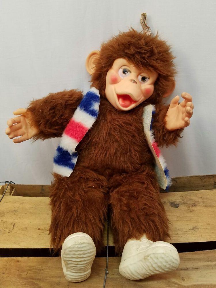 Vintage Rubber Face chimp monkey wearing American flag evil knievel vest   | eBay