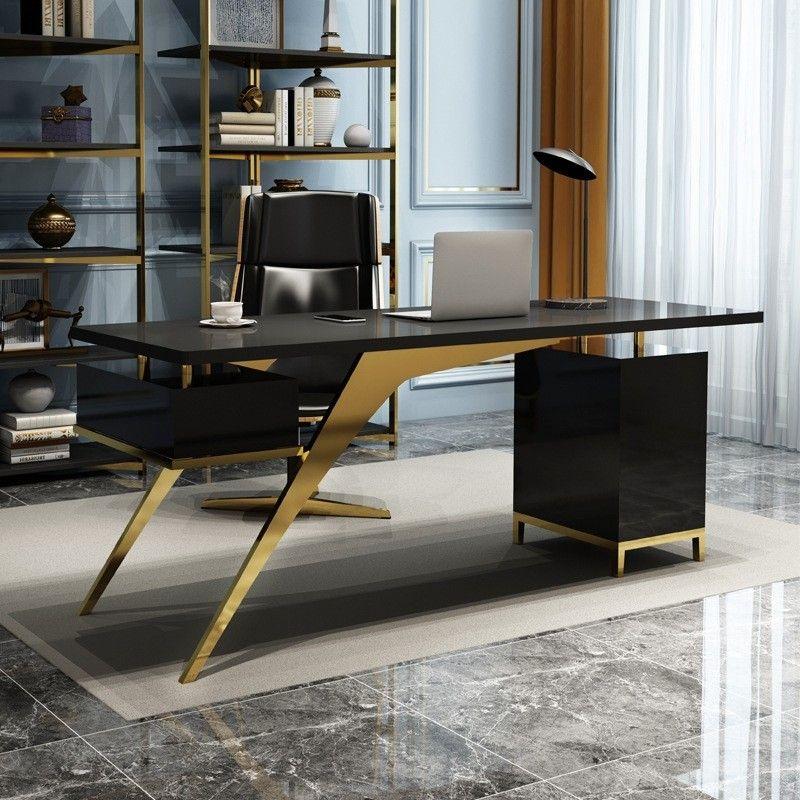Ultra Modern White Black Writing Desk 55 In 2020 Modern Office Interiors Office Interior Design Modern Office Table Design