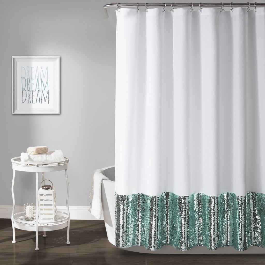 Mermaid Sequins Shower Curtain Spa Blue White Single 72x72 Lush
