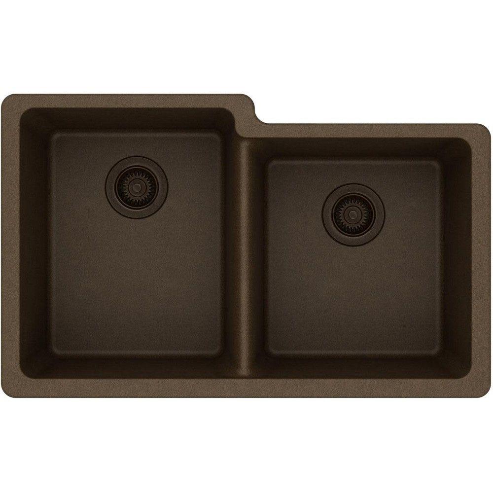 Elkay Elgu250r Gourmet 33 Double Basin Granite Composite Kitchen