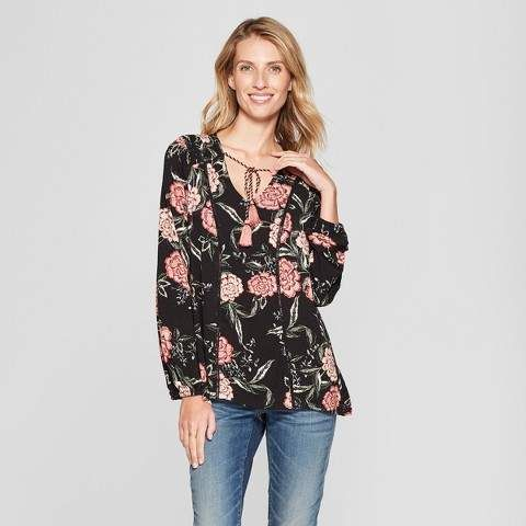 e320e2ca0c69c7 Knox Rose Women s Floral Print Long Sleeve Ruched Top - Knox Rose Black   comfy ultra love