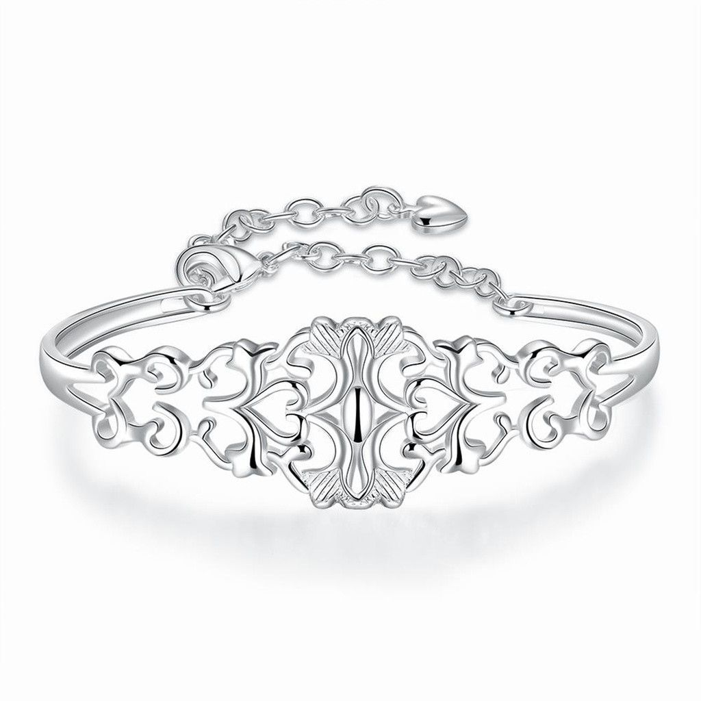 Silver plated bangle bracelets for women girls hollow design
