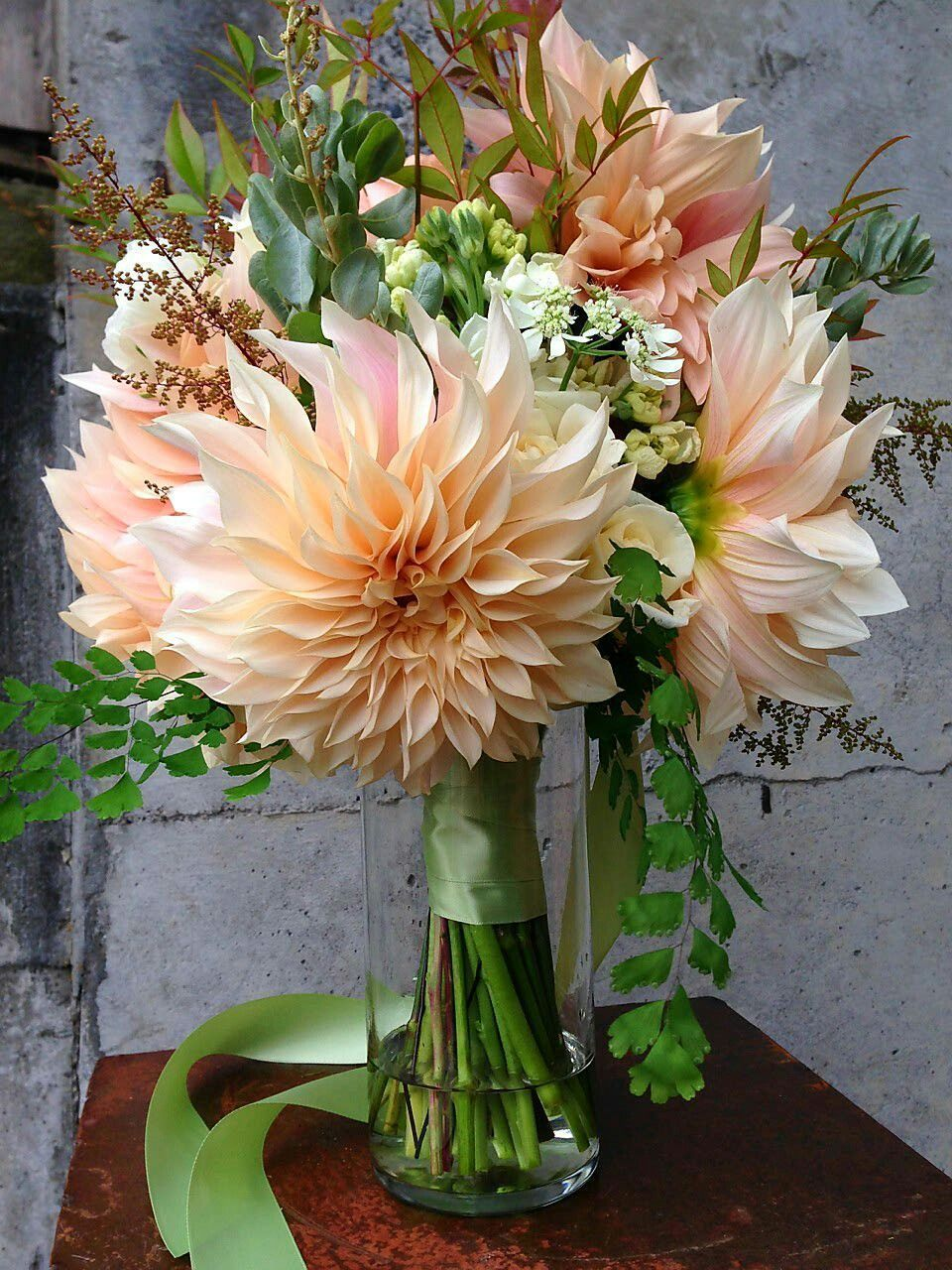 Stunning Hand Tied Wedding Bouquet Featuring Café Au Lait Dinner Plate Dahlias W Dahlia Flower Arrangements Flower Arrangements Beautiful Flower Arrangements