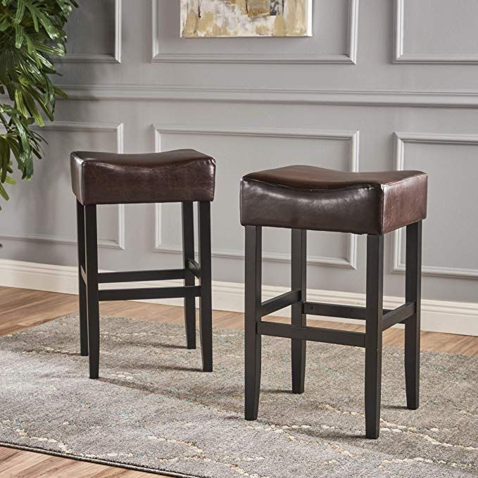 Great Deal Furniture Set Of 2 Adler Brown Leather Backless Bar Stool Review