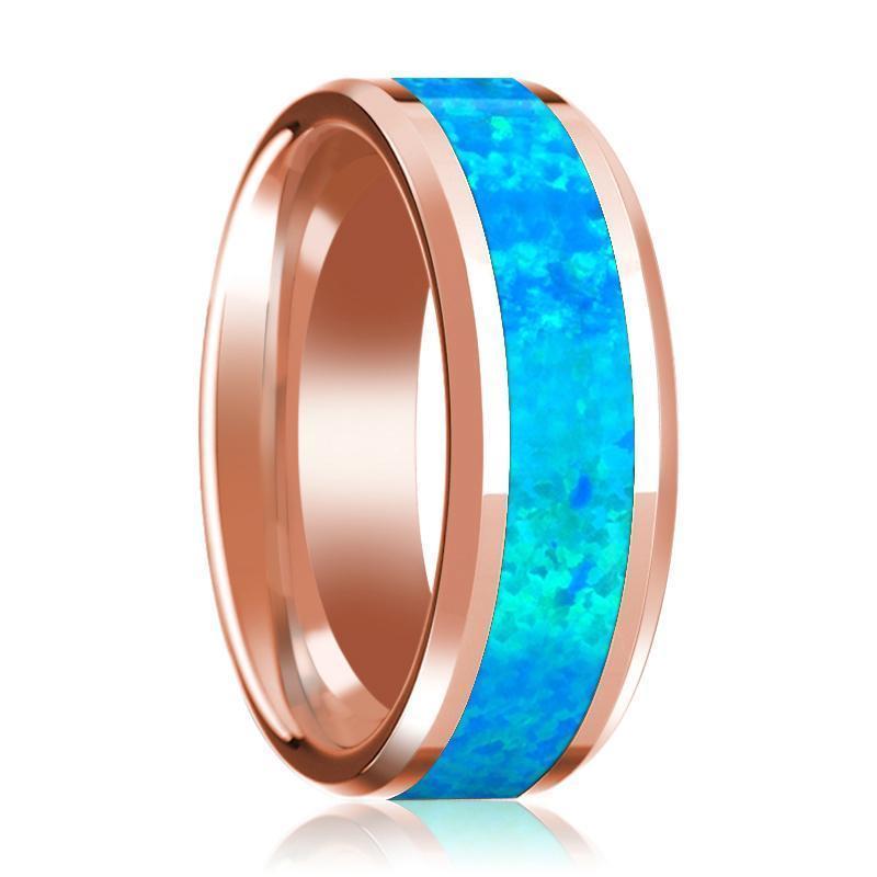 Blue opal inlay beveled edge mens wedding band 14k rose