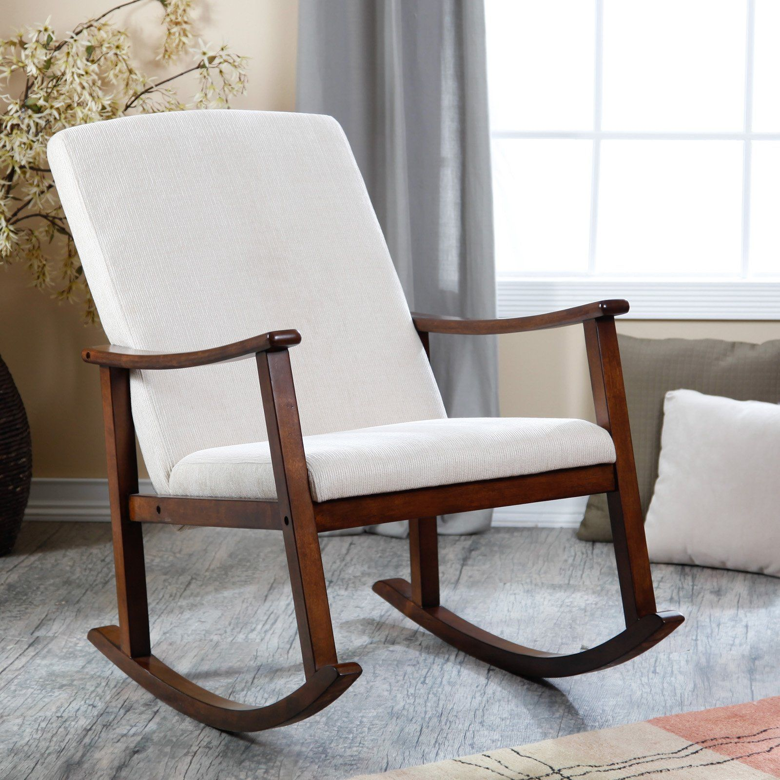 Wooden Rocking Chair For Nursery Have To Have It Holden Modern Rocking Chair Upholstered Ivory