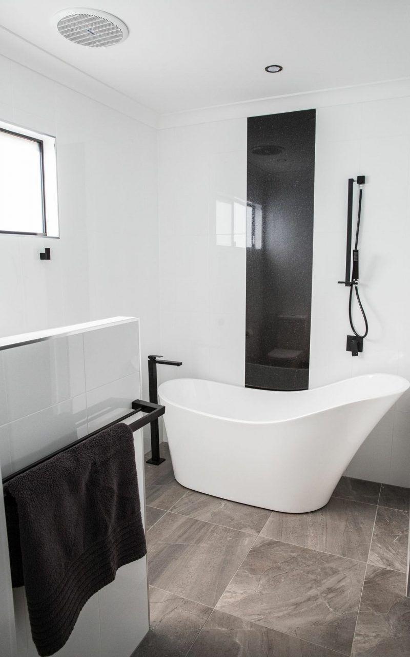 Square Matte Black Shower Column with Portable Hand Shower ...