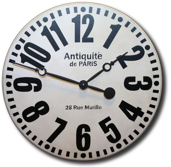 Large Wall Clock 36in Antique Style Bold Paris Big Round Clocks Large Wall Clock Wall Clock Clock