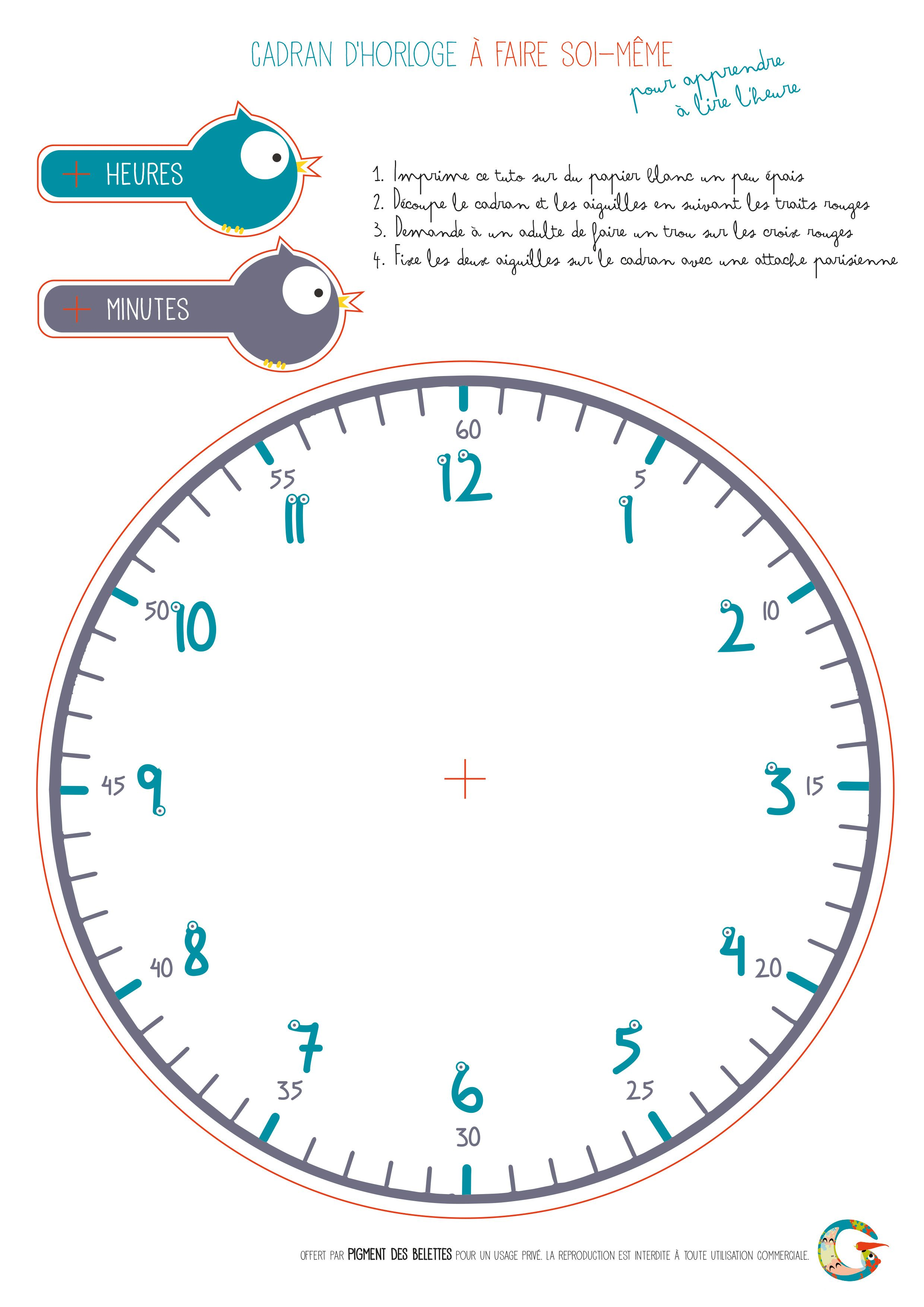 diy horloge t l charger et imprimer pour apprendre lire l 39 heure pigment des belettes. Black Bedroom Furniture Sets. Home Design Ideas
