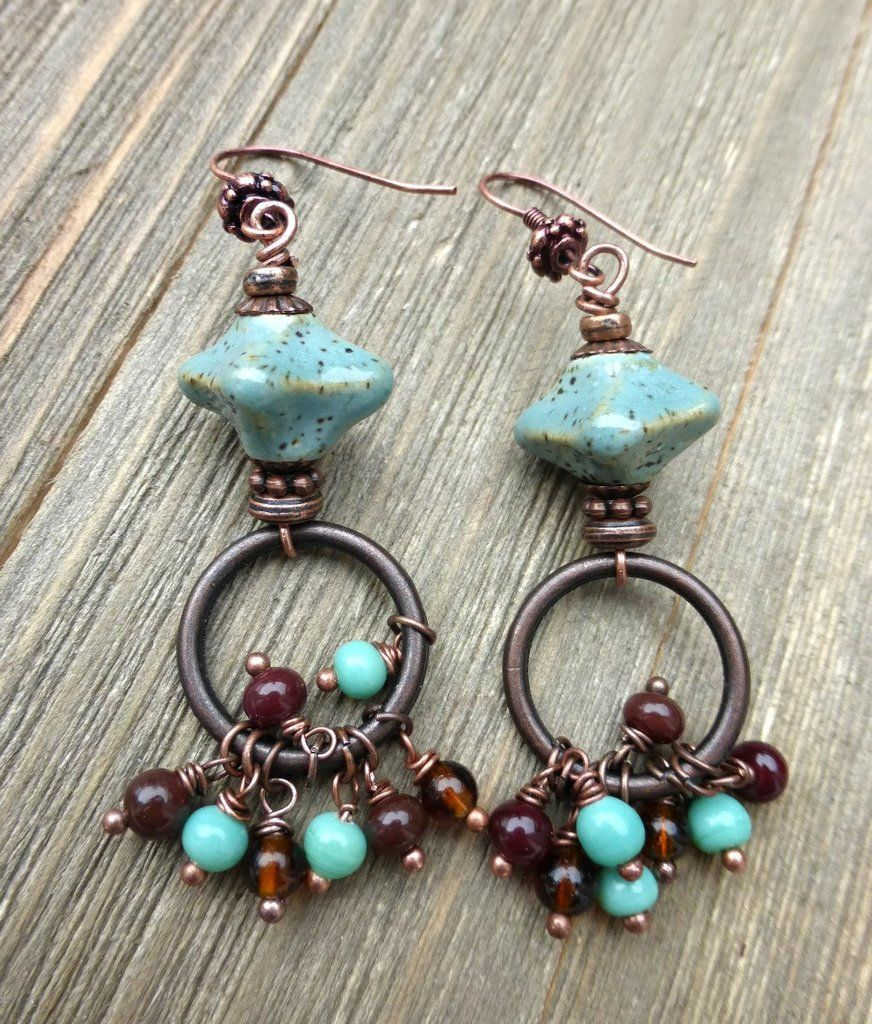 Mint chip. Ceramic mint green and brown beads, glass, copper metal ...