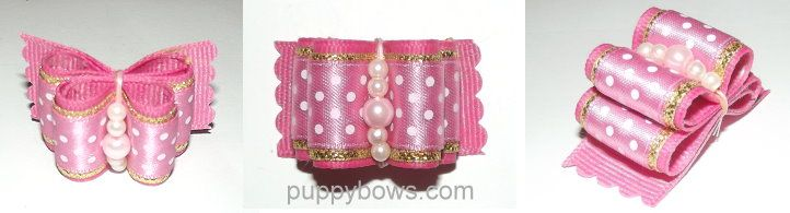 Dog bows and dog barrettes by Puppybows.com