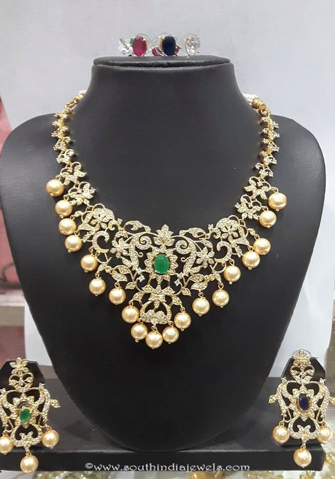 diamond like stone changeable imitation necklace set. Black Bedroom Furniture Sets. Home Design Ideas