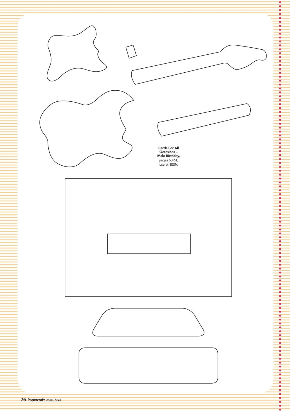 Free Guitar Template Paper From Wwwpapercraftinspirationsmagazine With Printable Pop Up Card Pop Up Card Templates Templates Printable Free Card Templates Free