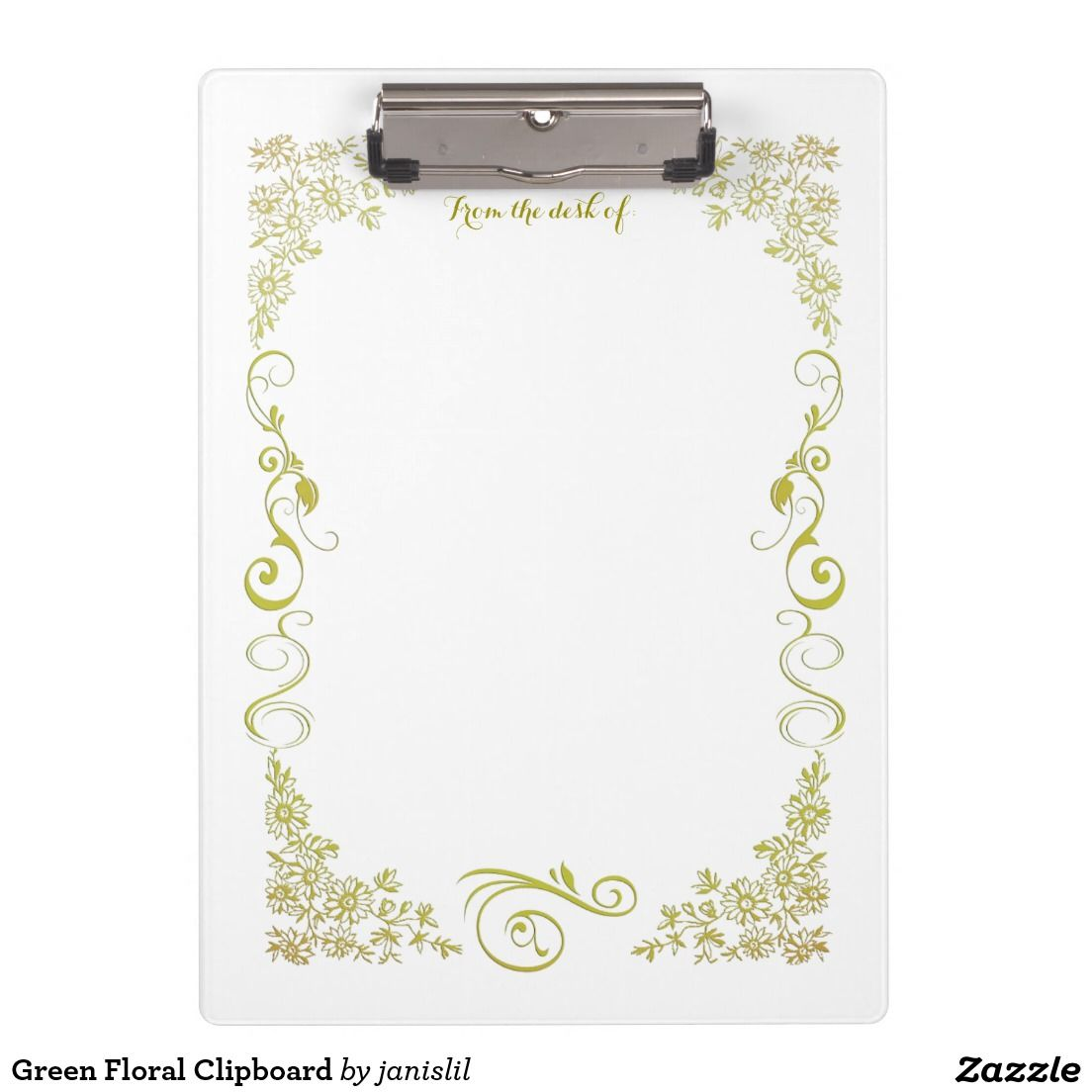 Green Floral Clipboard