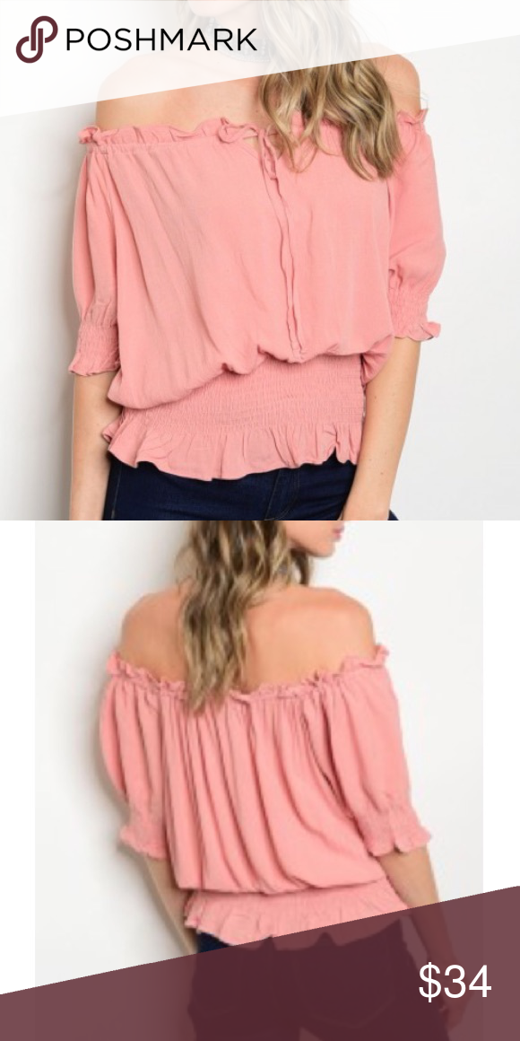 efa8e17c3fd6d1 ✨🆕Sexy Off Shoulder Peasant Top Pink (blush) Trendy top. Too cute. 100%  Rayon. Comfortable   roomy! Wear this short sleeve top off or on shoulders.