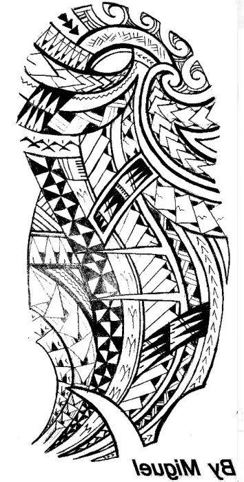 Modele Pour Tatouage Masculin D Epaule Et Bras Jusqu Au Coude Du Type Maori Polynesien Ýリネシアンタトゥー µモア ¿トゥー ¿トゥー