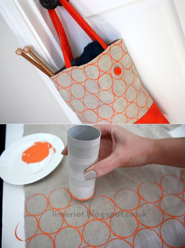 dip the end of the toilet cardboard thing into the paint then put it on the bag this can also. Black Bedroom Furniture Sets. Home Design Ideas