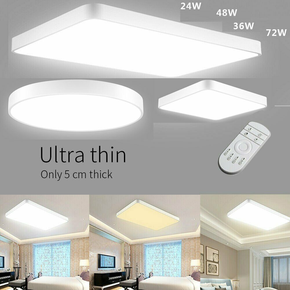 Led Ceiling Light Ultra Thin W Dimmable Flush Mount Kitchen Lamp