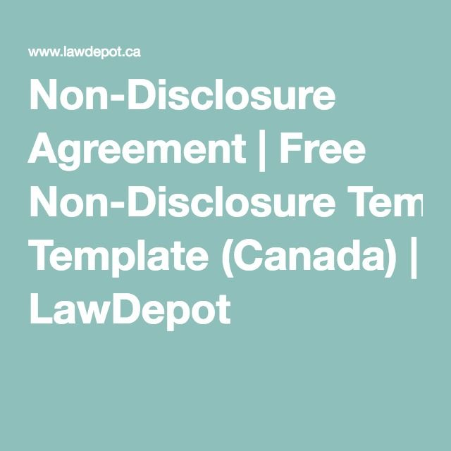 Non-Disclosure Agreement Free Non-Disclosure Template (Canada - contractor confidentiality agreement