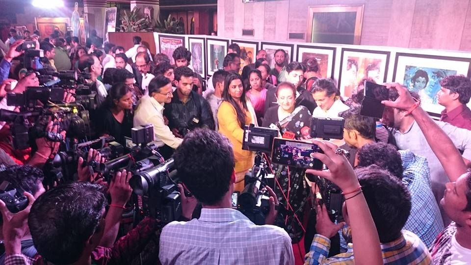 Neville Tuli and Saira Banu interacting with media at The Two Thespians - Dilip Kumar and Marlon Brando festival at Osianama in Liberty Cinema