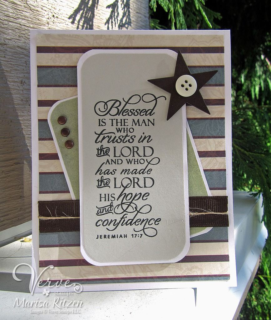 Handmade card by Marisa Ritzen featuring the Jeremiah 17:7 verse from the Scripture Medley 4 stamp set by Verve. #vervestamps #faithstamping